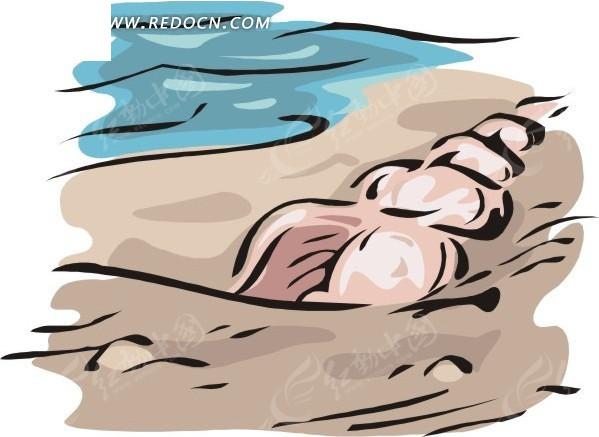 沙滩足迹 沙滩上的一排脚印 沙滩上的脚印 沙滩上停靠的破船 退潮后的