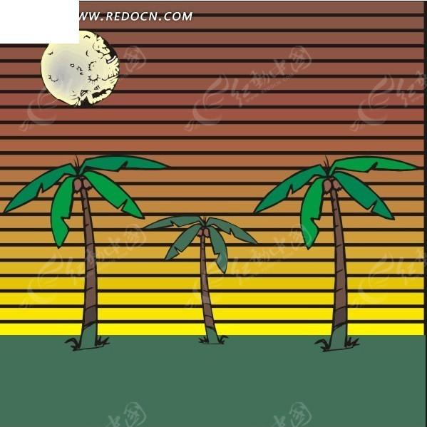 手绘阳光下的椰子树