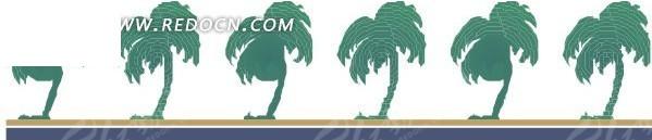 手绘一排椰子树图片