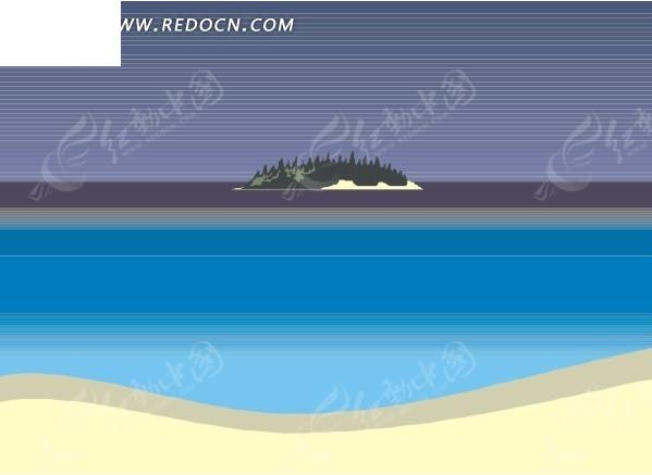手绘 夜空 海岸 沙滩  风景图片 自然风光 自然风景 矢量素材