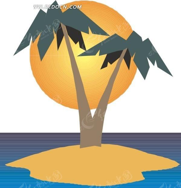 椰子手绘小清新插画