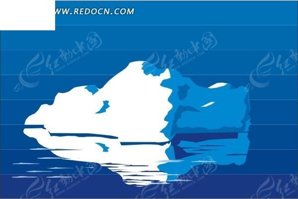 手绘水面上的冰川