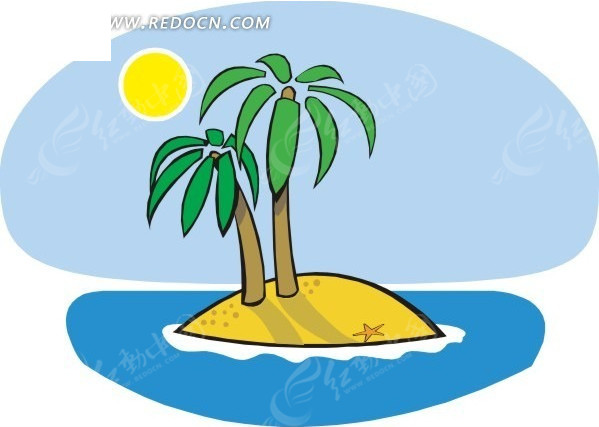沙滩椰子树简笔画