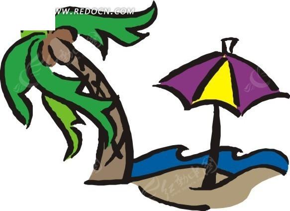 手绘椰子树和太阳伞