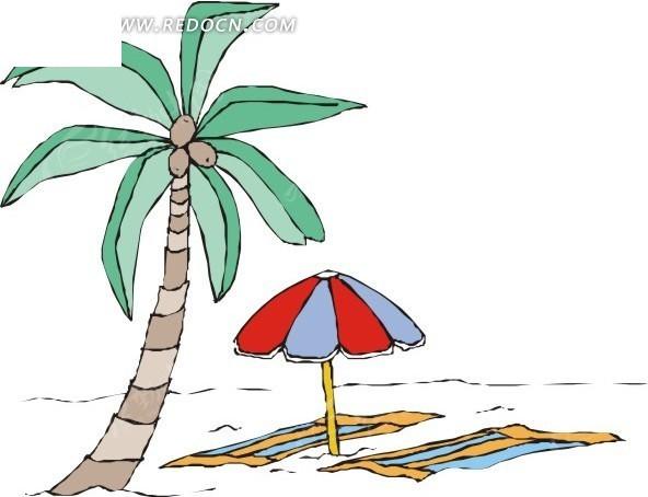 沙滩 椰子树 太阳伞 eps素材 矢量 矢量素材 插画 卡通 风景图片 自然