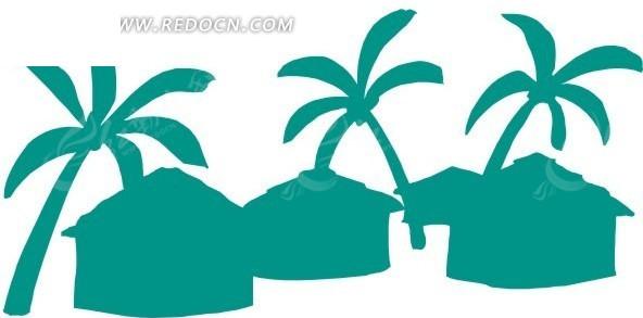 绿色 椰子树剪影 eps素材 矢量 矢量素材 插画 卡通 风景图片 自然