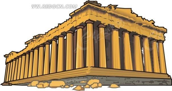 希腊神庙漫画素材