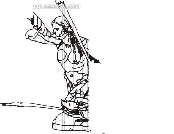 飞天仙女 雕像 eps素材