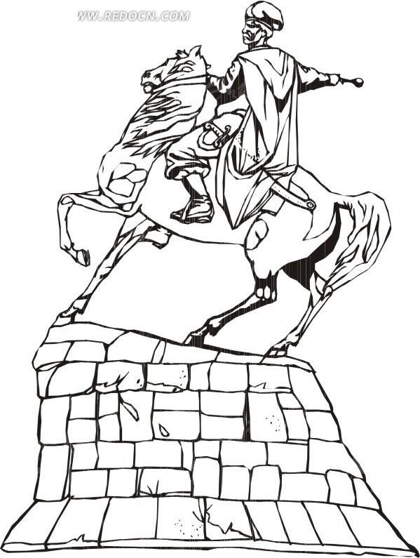 欧洲骑士雕像