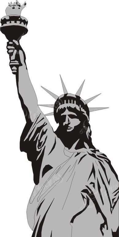 手绘自由女神像上半身