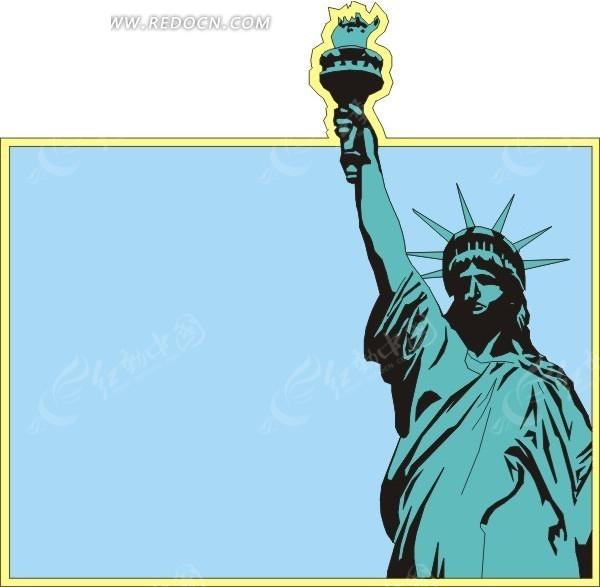 手绘蓝色背景上的自由女神像
