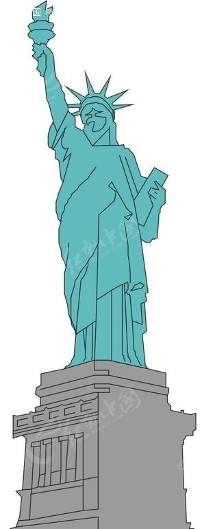 手绘绿色自由女神像矢量图_传统图案; 女神联盟游戏唯美手绘美女