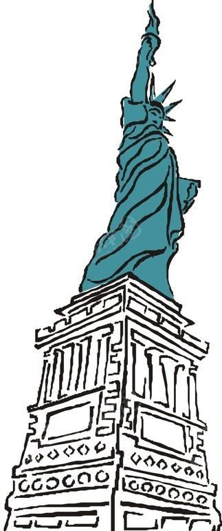 自由女神像 雕像 矢量图 漫画 动漫 卡通 绘画 手绘 矢量素材 风景