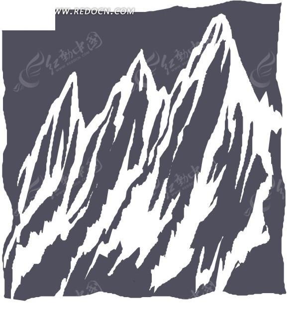 手绘灰色背景上的山峰