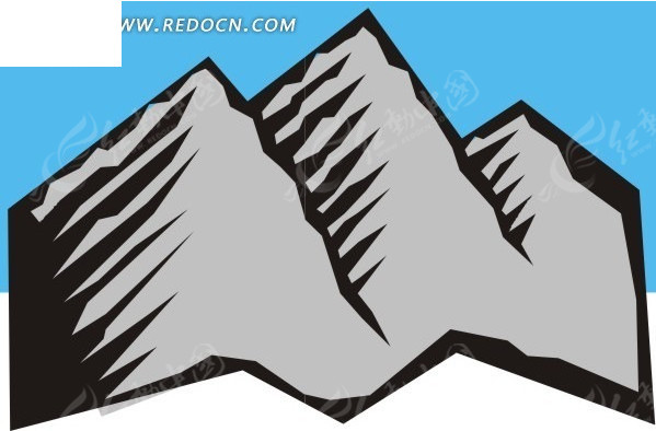 手绘灰色山峰