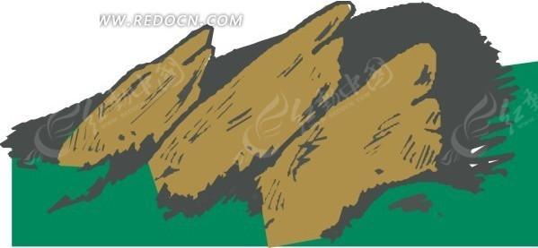 卡通手绘大山矢量图