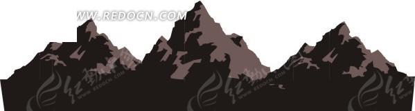 手绘褐色陡峭的山峰