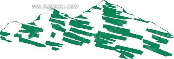 免费素材 矢量素材 空间环境 自然风光 > 手绘绿色线条的高山  免费