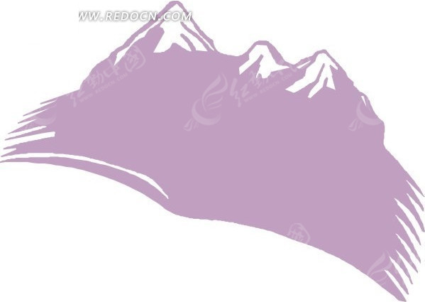 手绘紫色雪山