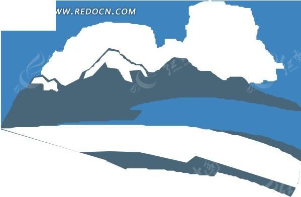 蓝天白云手绘素材