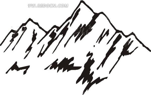 手绘黑白色陡峭的高山