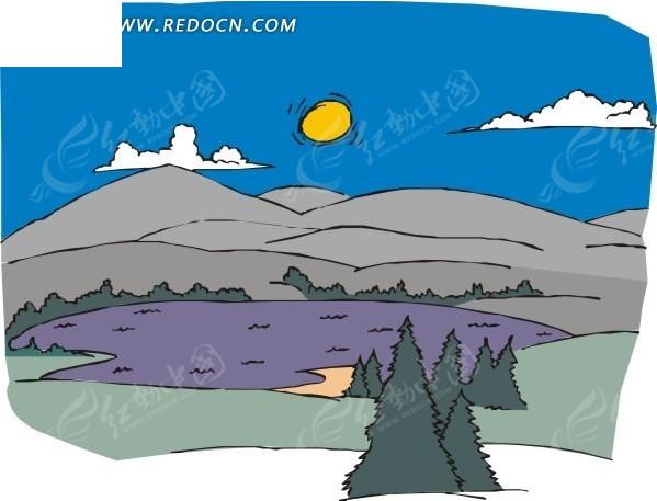 手绘蓝天白云下的高山和湖面