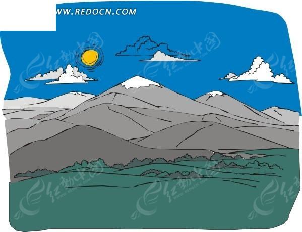 手绘蓝天白云下的高山和草原