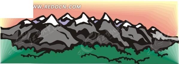 手绘卡通大山树林矢量图