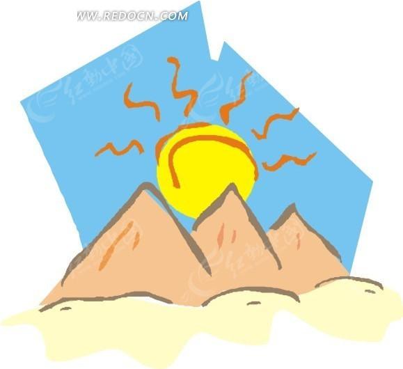 阳光下的高山卡通画 太阳 自然风景 卡通漫画 插画 手绘 eps 矢量素材