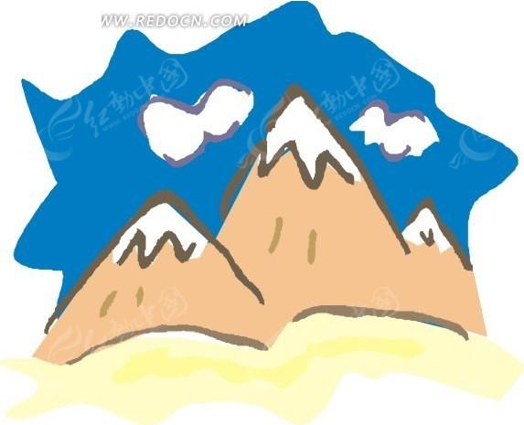 手绘线条图像大山