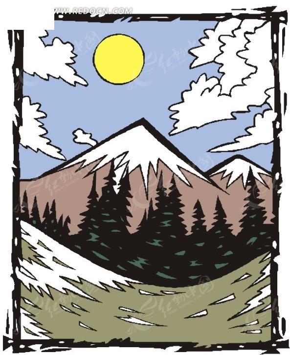 手绘蓝天白云下的雪山和树木矢量图