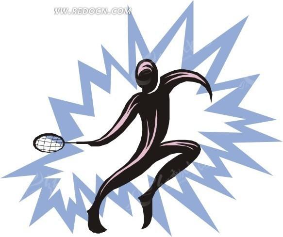 抽象手绘打网球的人