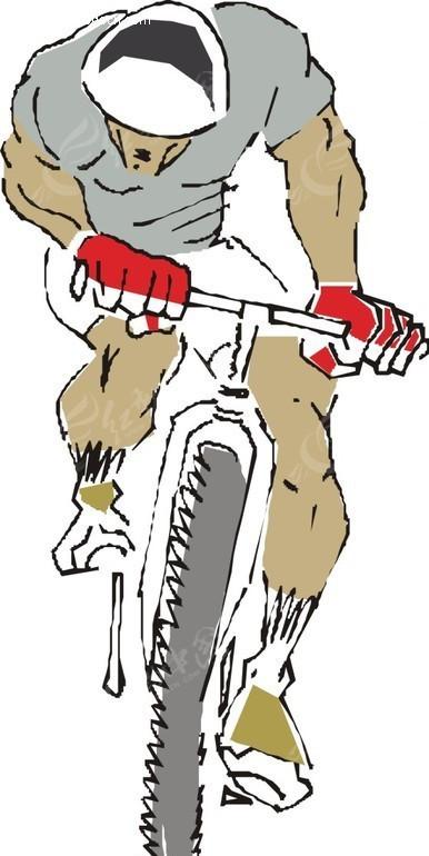 骑自行车矢量图_体育运动