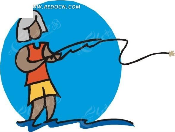 手绘插画钓鱼的女人