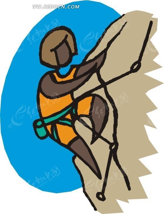 手绘插画攀岩的人