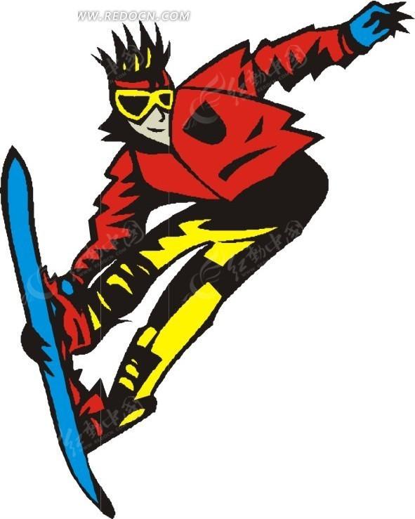 手绘插画高山滑雪的人