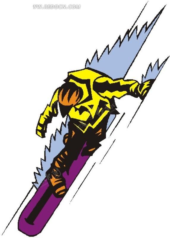 手绘插画急速滑雪的人