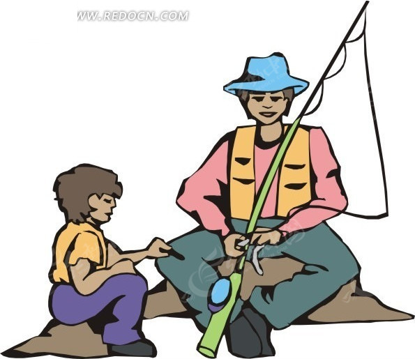 手绘插画钓鱼上饵的人