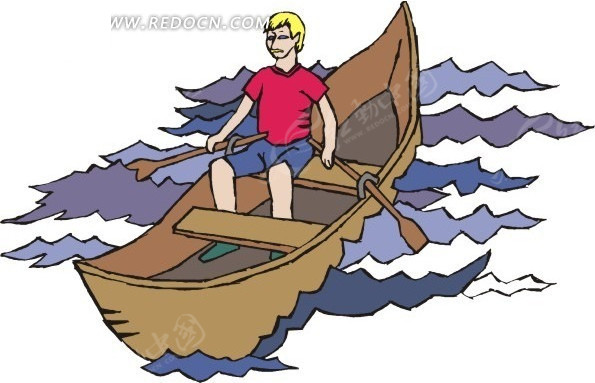 手绘插画水波上划船的人
