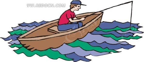 手绘插画坐在小船上钓鱼的人
