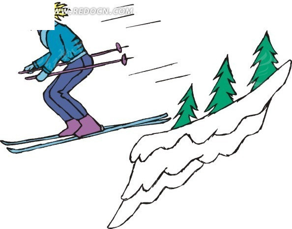 手绘插画高山滑雪的美女