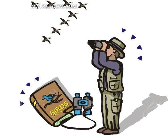 手绘拿着望远镜看鸟的人