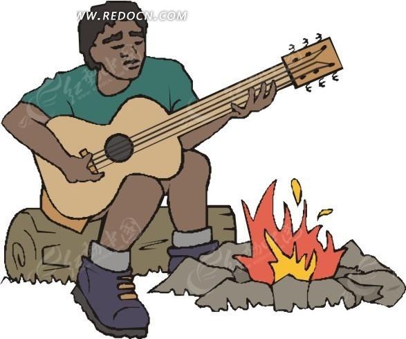 手绘篝火边弹吉他的人