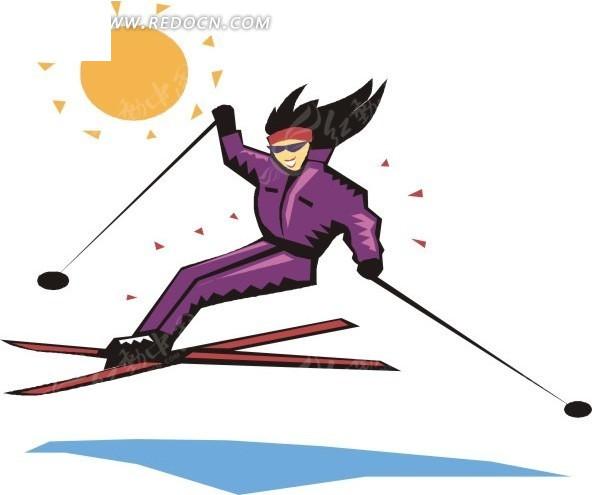 手绘高山滑雪