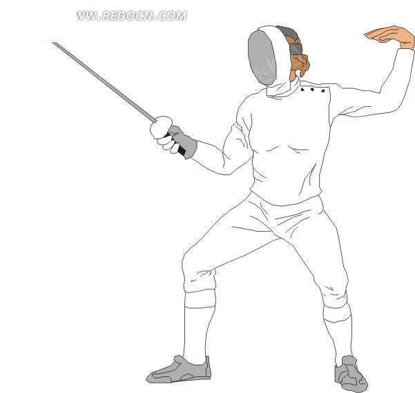 击剑的卡通人物