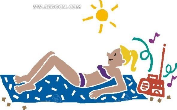 手绘躺着享受日光浴的美女