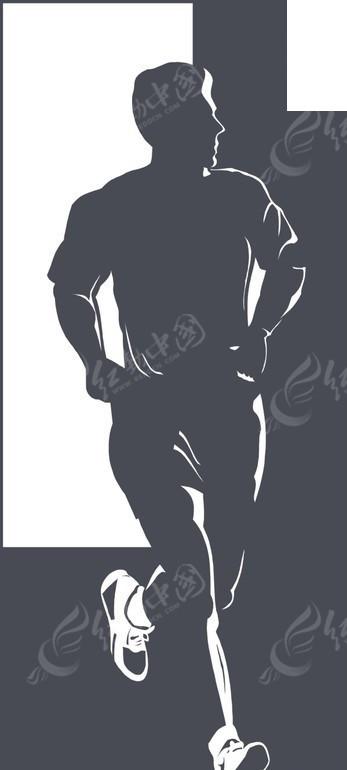 手绘跑步男性运动员身影