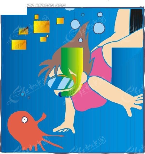 手绘潜水女孩和墨鱼