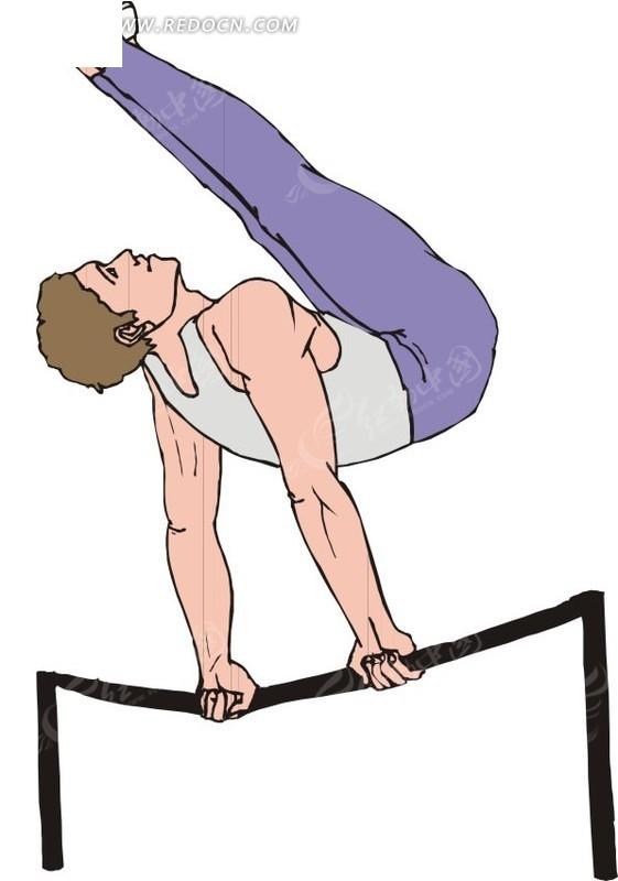 单杠运动  男子  体育运动  手绘  插画  卡通画  卡通形象  漫画素材