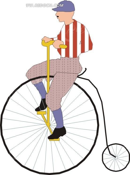 手绘骑单车的人